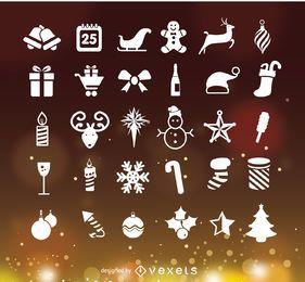 Ícones de Natal sobre bokeh