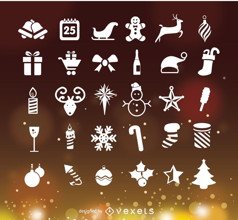 Christmas icons over Bokeh