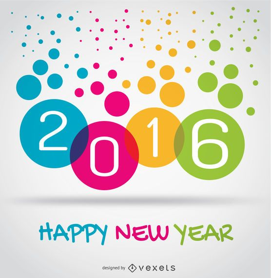 Colorful 2016 happy new year circles