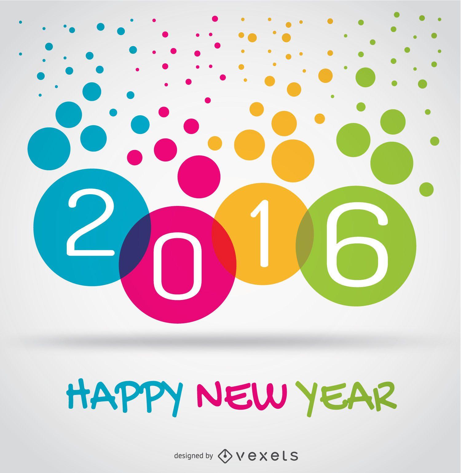 Colorful 2016 new year circles