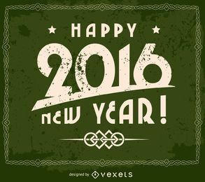 Grunge 2016 happy new year design