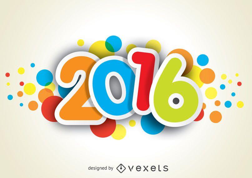 2016 año nuevo divertido y colorido