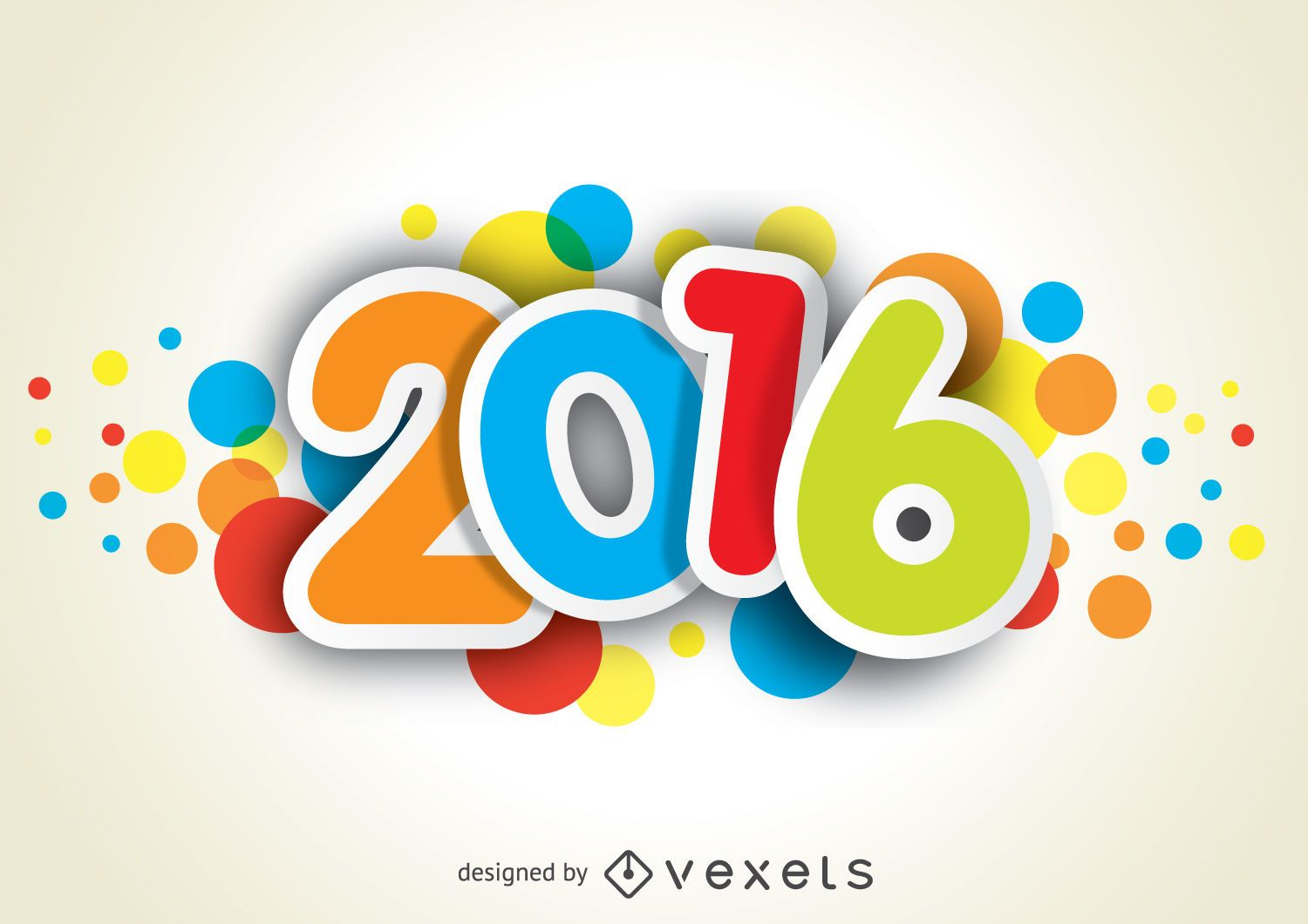 Funny and colorful 2016 new year