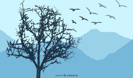 Paisaje de silueta de aves de árbol torcido
