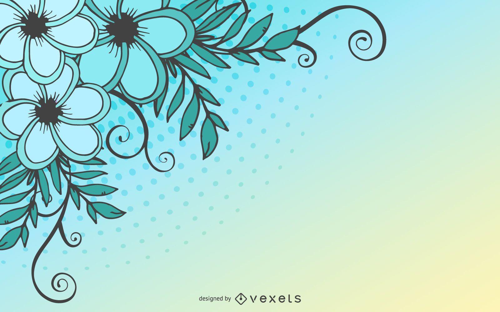 Swirling Floral Plant Halftones Background