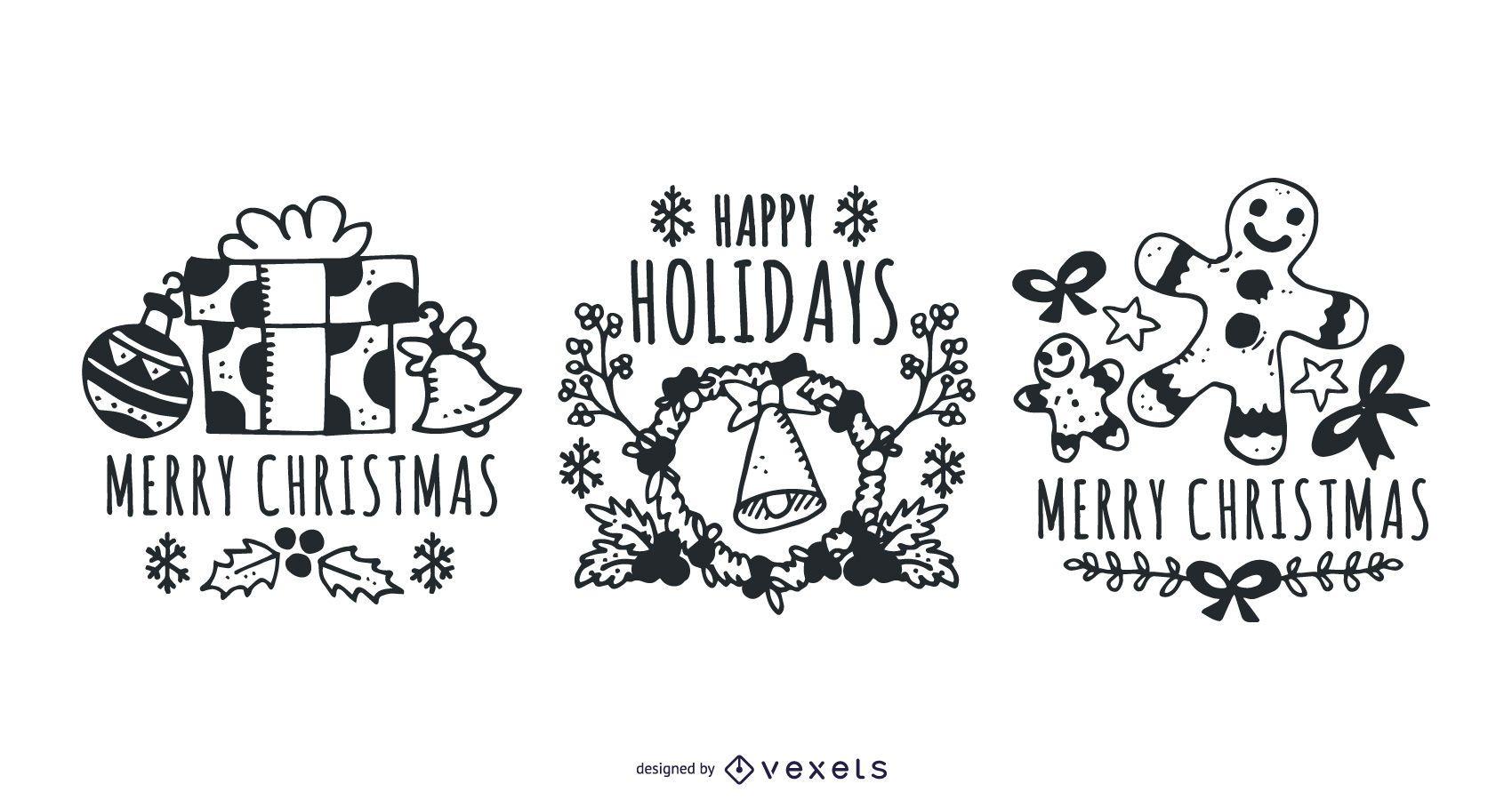 Hand Drawn Christmas Label Kit