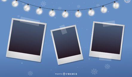 Blue Christmas Polaroid Photo Collage