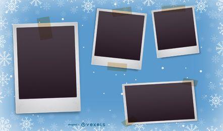 Blaue Weihnachtspolaroid Foto-Collage