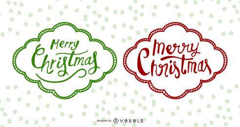 Funky Hand Drawn Navidad etiquetas