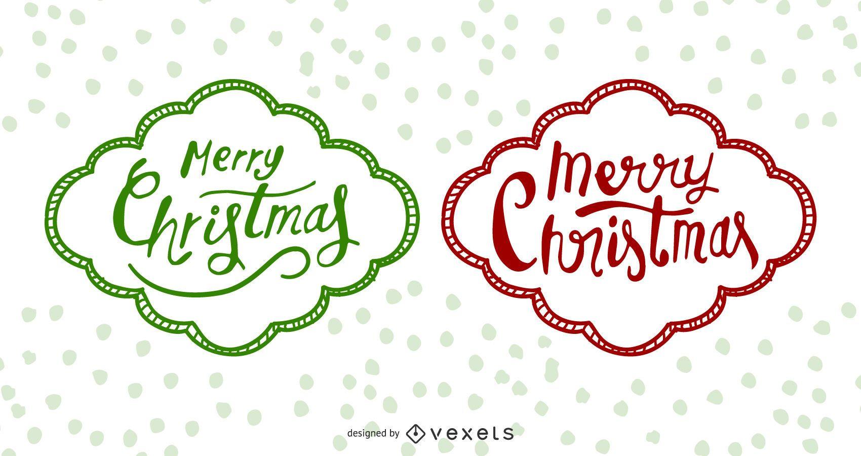 Etiquetas navideñas dibujadas a mano funky