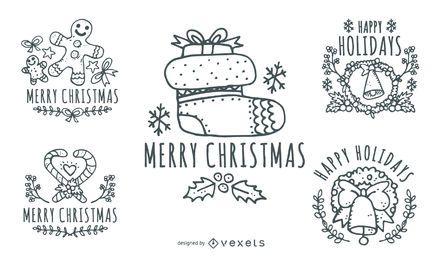 Etiquetas dibujadas a mano de Navidad Vintage