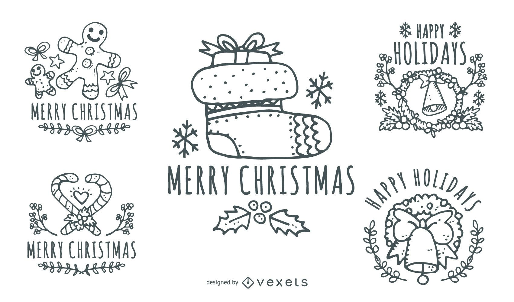 Hand Drawn Vintage Christmas Labels