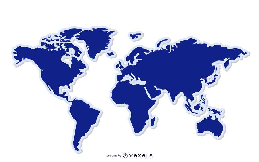 Fondo azul del mapa del mundo