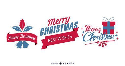 Conjunto tipográfico vintage de Navidad