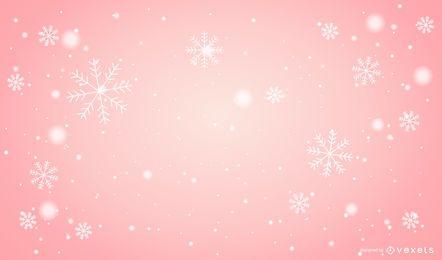 Fundo de Natal rosa de flocos de neve