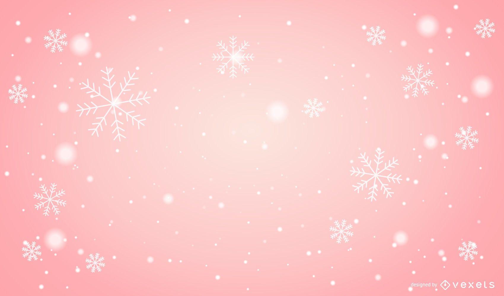 Fondo de Navidad rosa copos de nieve