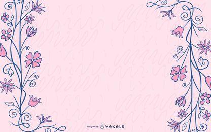 Azul sujo redemoinhos rosa flor