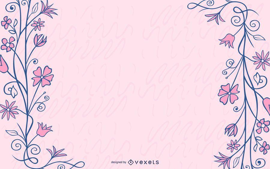 Grungy Blue Swirls Pink Flower