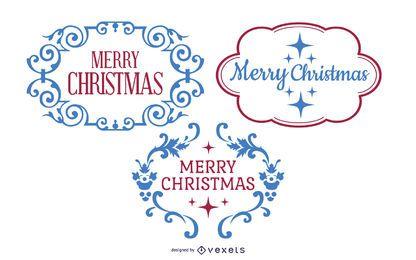 Retro dekorativer Weihnachtsetikettensatz