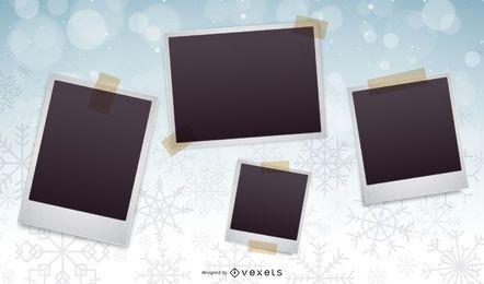 Collage de fotos de Navidad de fondo de copos de nieve