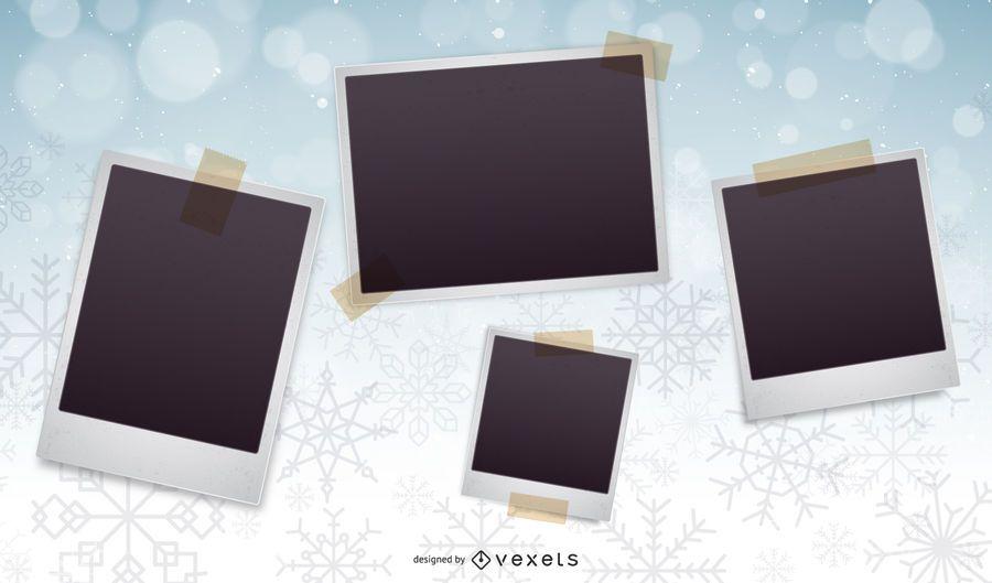 Snowflakes Background Xmas Photo Collage
