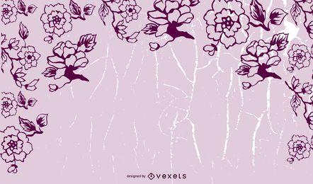 Fundo de mensagem grungy floral