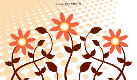 Meios-tons de planta de flor