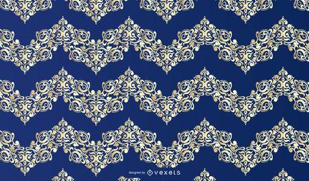 Patrón de adorno floral de oro azul