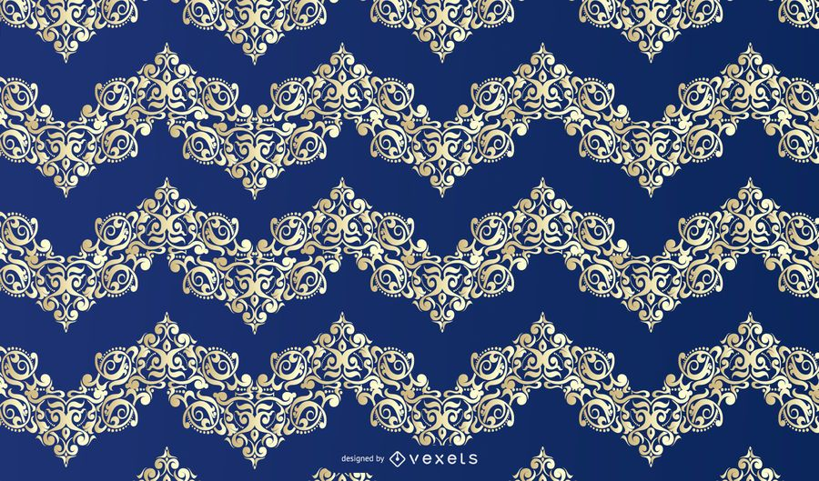 Blue Gold Floral Ornament Pattern
