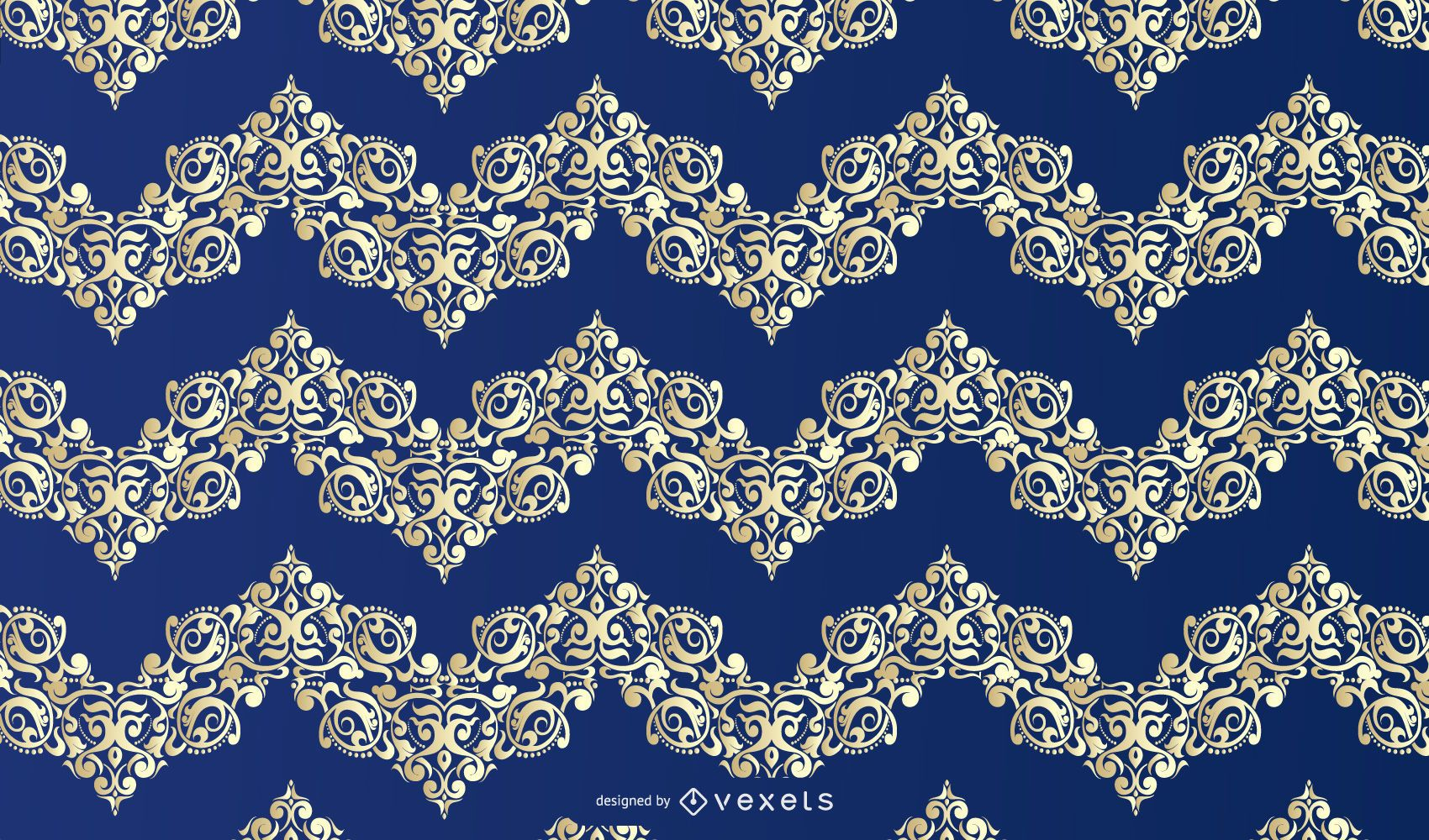 Blue Gold Floral Ornament Pattern