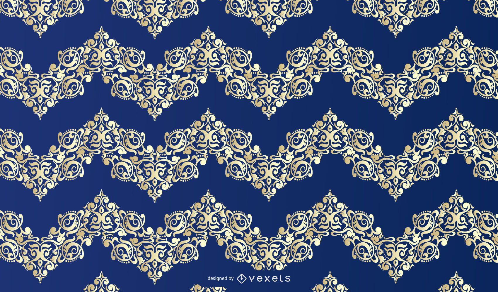Patrón de ornamento floral de oro azul