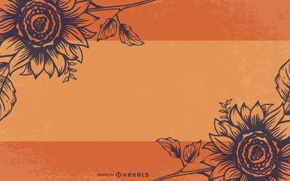 Saludo escrito a mano de flores grungy