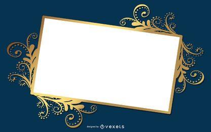 Banner brillante marco florido remolinos