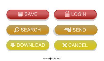 Botões coloridos da Web de ícone arredondado