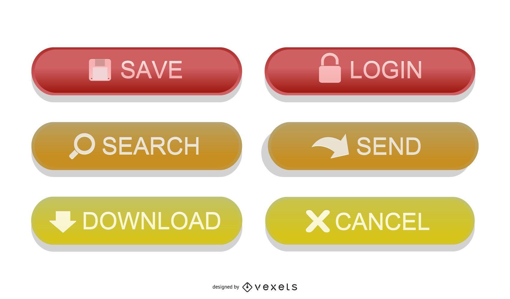 Vectores de botones web brillantes coloridos