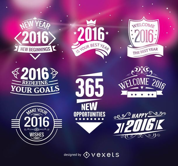 2016 new year badges