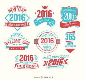Logos des neuen Jahres 2016 hellblau und rot