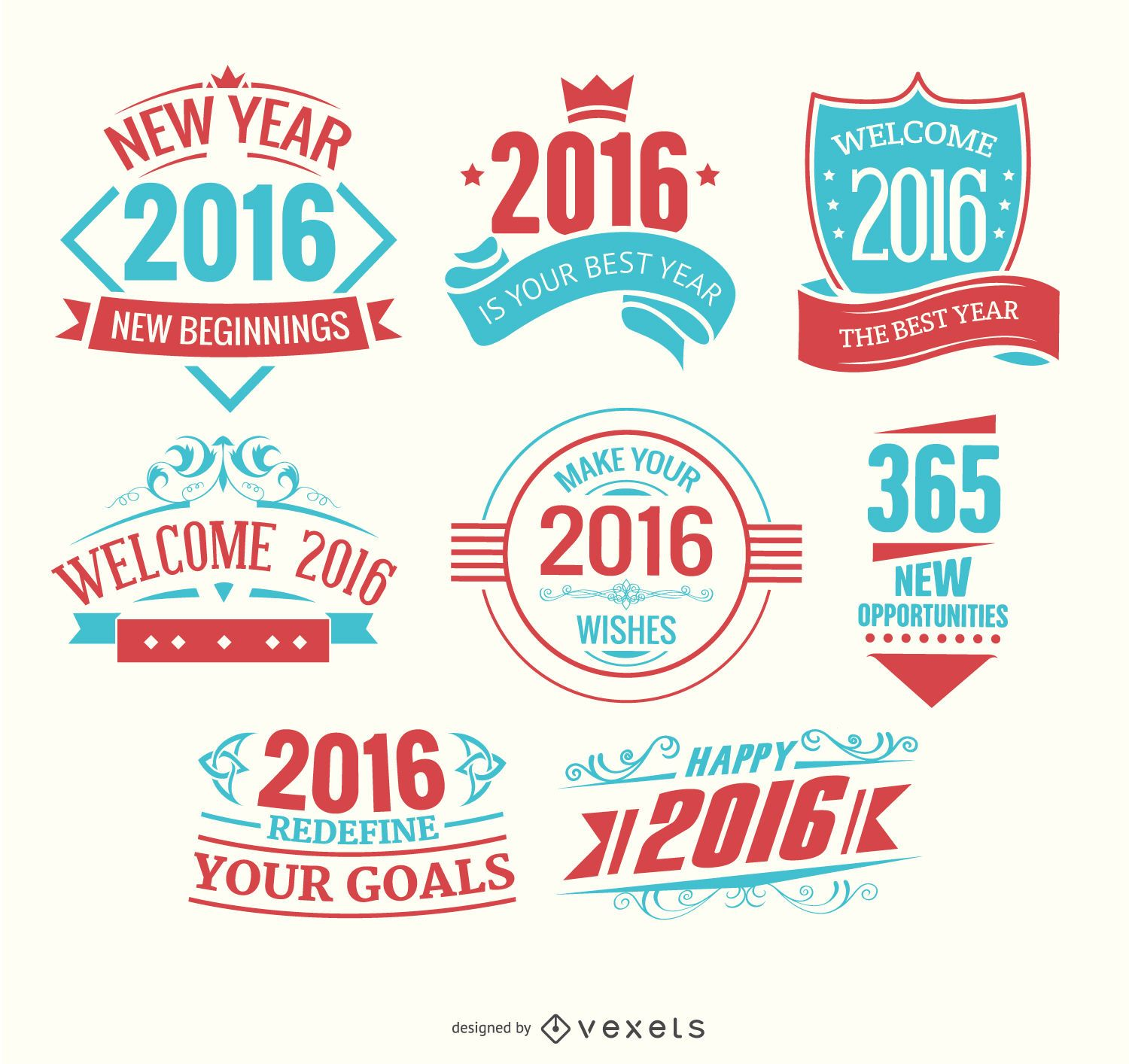 2016 new year logos light blue and red
