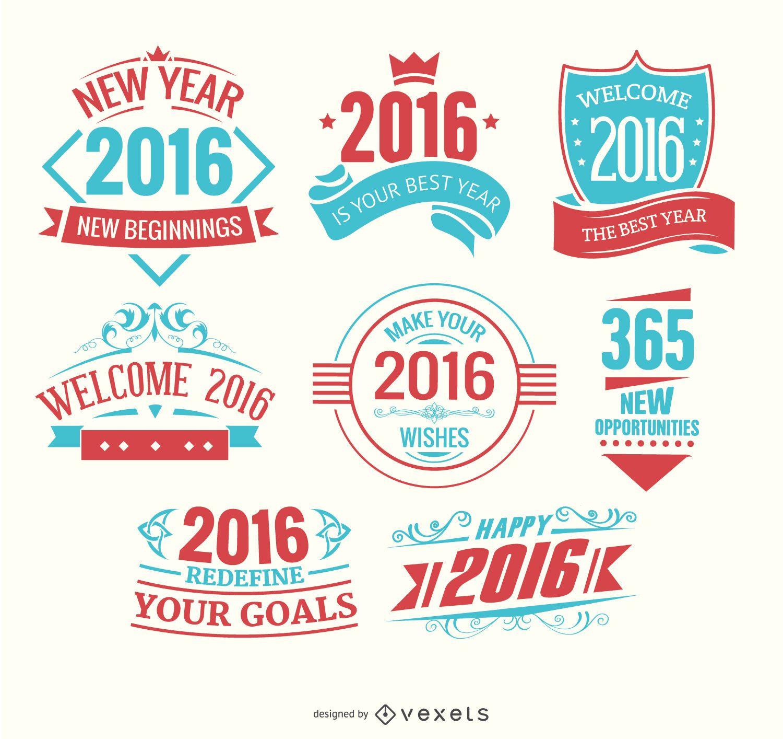 Logotipos de ano novo de 2016 em azul claro e vermelho