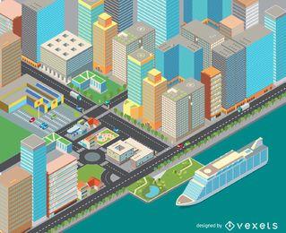 Coste isométrico del paisaje urbano.