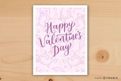Diseño de tarjeta de día de San Valentín de remolinos rosados