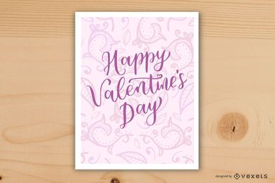 Tarjeta floral rosa remolino
