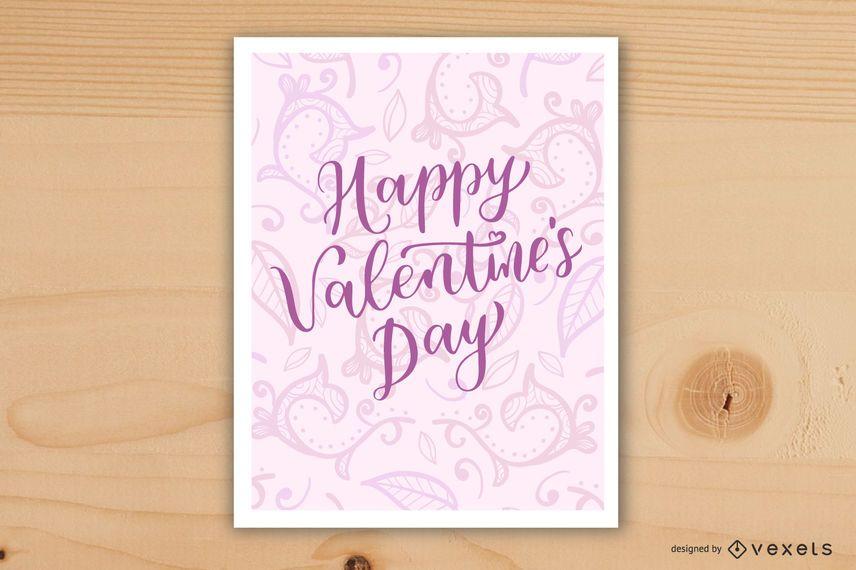Pink Swirls Valentines Day Card Design
