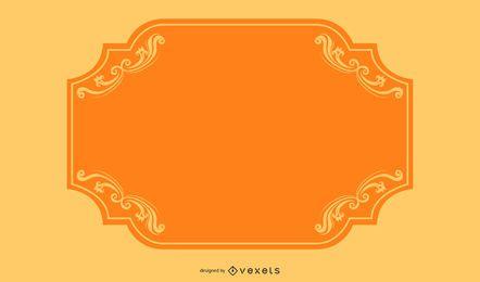 Bandera de borde naranja remolinos de colores
