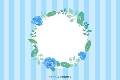 Cartão floral das listras azuis