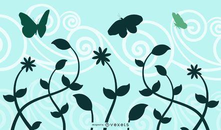 Silhueta de borboletas de paisagem de roda