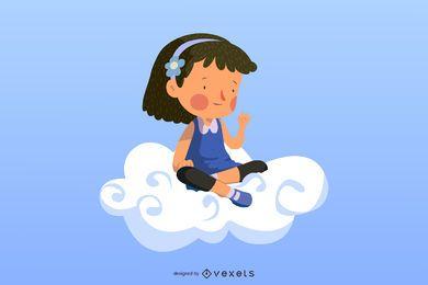 Garota de nuvem colorida rodando