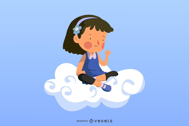 Chica colorida nube remolino