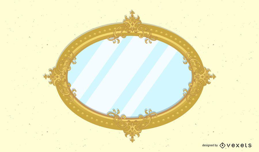Ornamental Mirror Frame Retro Background