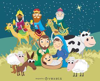 Weihnachtskrippe Geburt von Jesus Christus